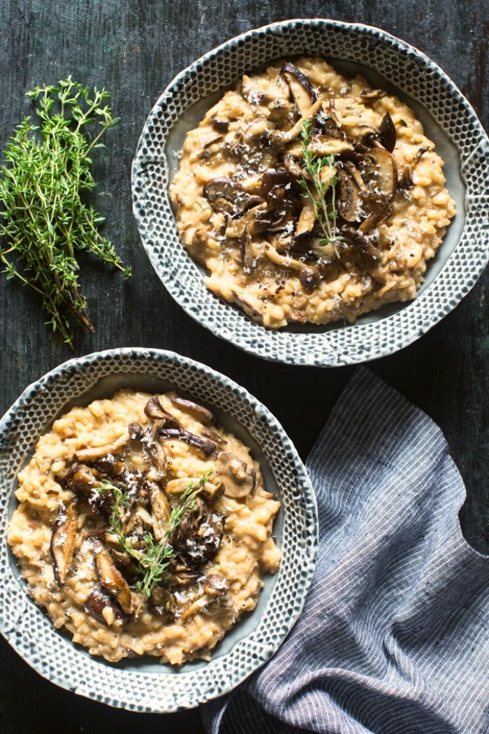 recette de risotto onctueux au mascarpone et au champignons, recette salée avec mascarpone