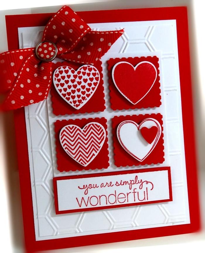 activité manuelle pour la Saint Valentin, idée DIY carte facile pour 14 février, modèle carte rouge et blanc faite maison