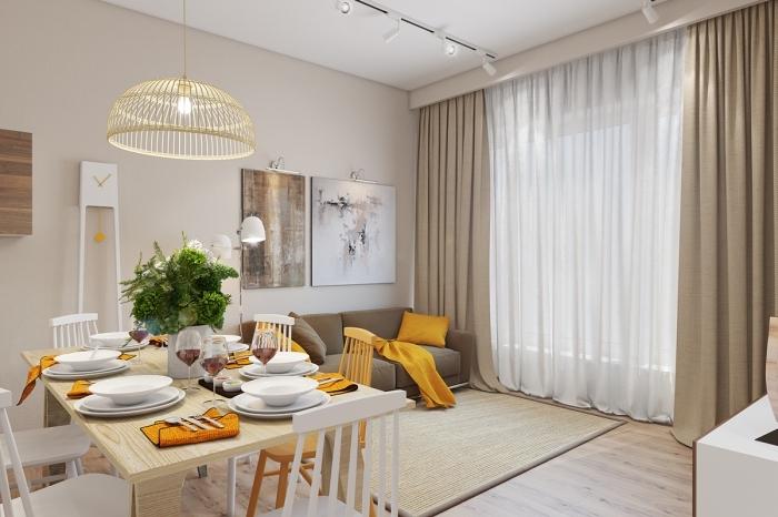idée comment aménager un salon avec coin à manger, design intérieur moderne aux couleurs beige et bois avec objets moutarde couleur