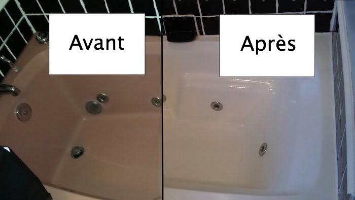 photo de baignoire rénovée avec nouvelle peinture epoxy blanche avant après