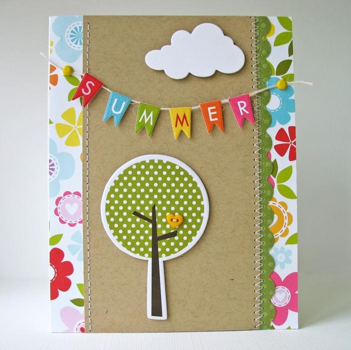 exemple carte de vacances DIY, activité manuelle maternelle facile, fabrication carte scrap en papier cartonné