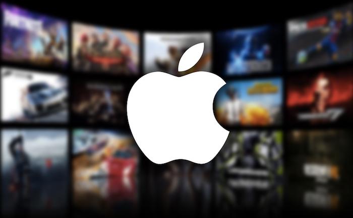 image logo apple sur fond de pochettes de jeux videos pour illustrer l'actualité lifestyle d'apple qui se lance dans le streaming de jeux vidéos