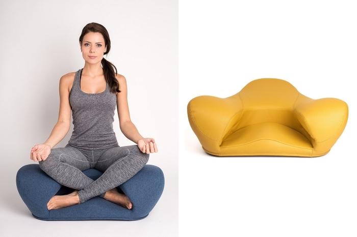 accessoire pour yoga, idée cadeau saint valentin pour femme, modèle de chaise assis-pieds pour faire du yoga