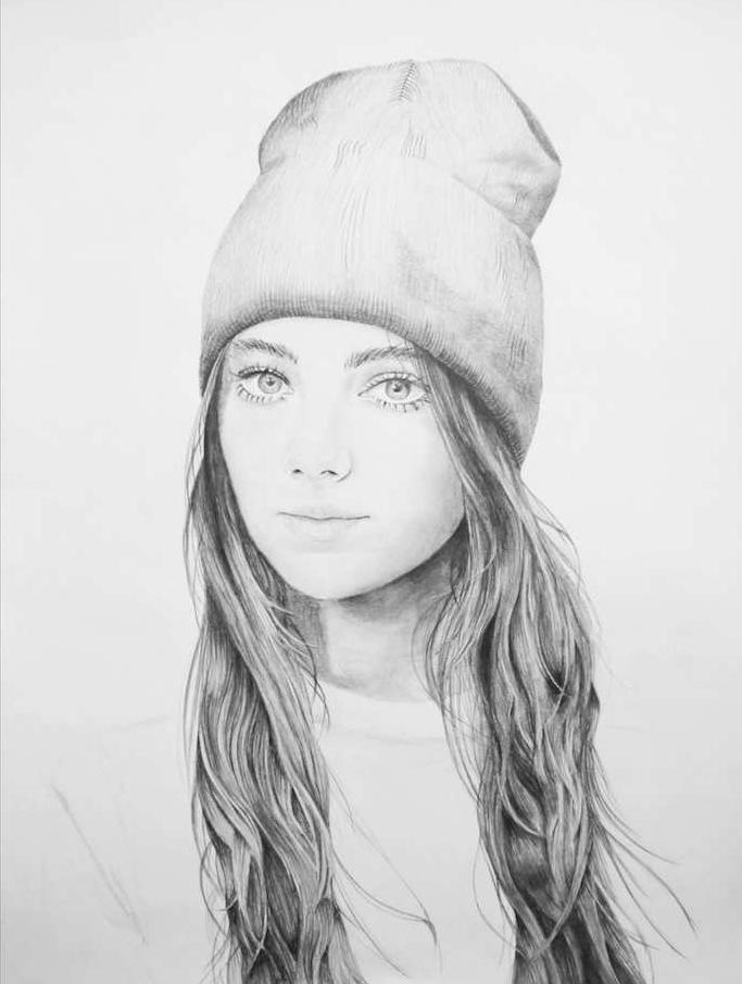street style fille swag image de portrait au crayon noir et blanc style graphique réaliste, cheveux longs, chapeau et pull sport