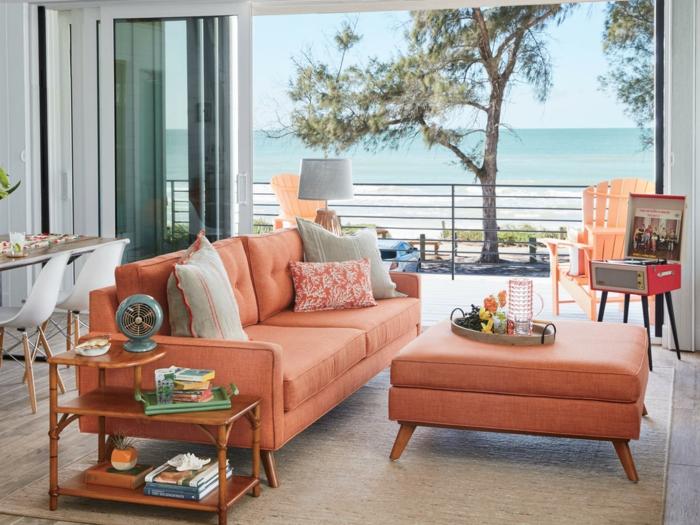 sofa couleur automne hiver 2019, table ottoman couleur tendance, salon et salle à manger, belle vue