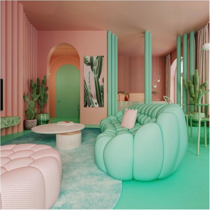 ambiance style mexicain, tapis vert menthe, sol peint vert, deux grands fauteuils en couleurs pastels, porte en arc, grands cactus, couleur mur chambre corail