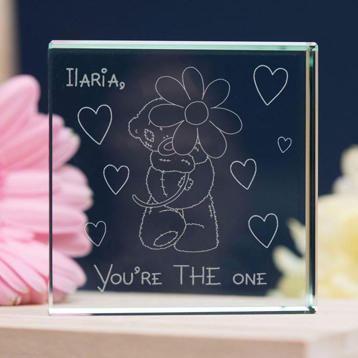 objet de Saint Valentin personnalisé, figurine en verre à gravure ours amoureux avec mots d'amour, idée surprise saint valentin