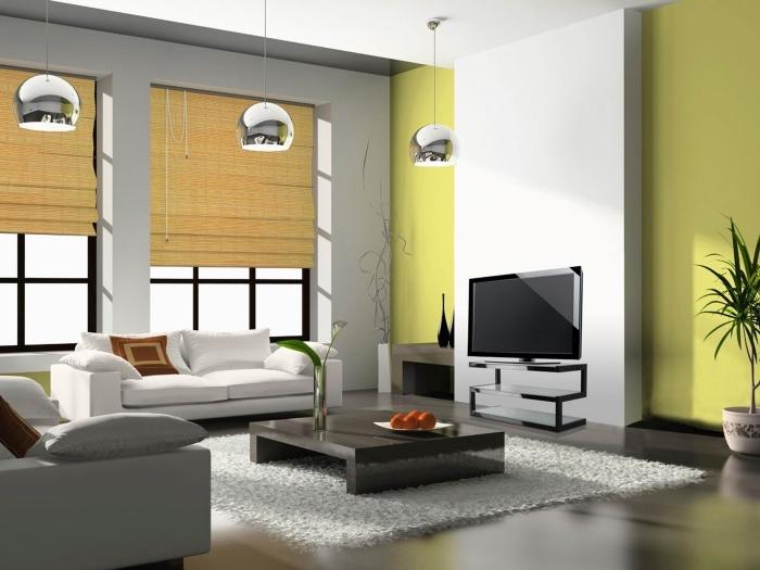 peinture murale salon moderne vert, quelle couleur associer au vert dans un salon contemporain, peinture vert jaune