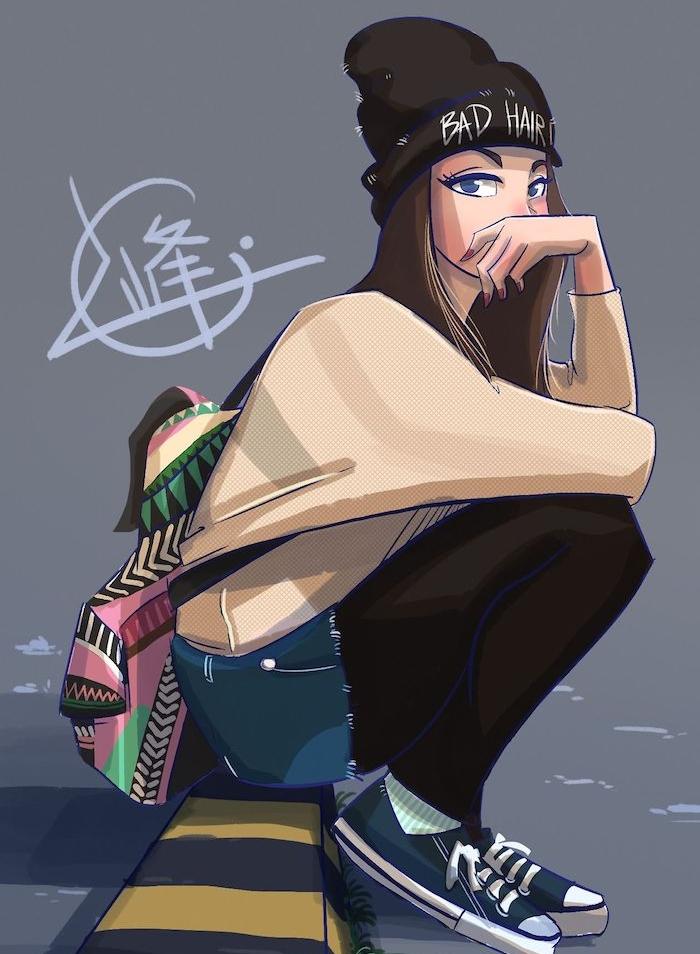 image swag qui ressemble à un dessin animé, cheveux longs, chapeau, shorts, sac à dos coloré, comment dessiner facilement style swag
