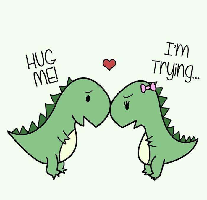 idee marrante d image de deux dinosaures verts amoureux, dessin bd avec texte amusant, dessin facile a reproduire