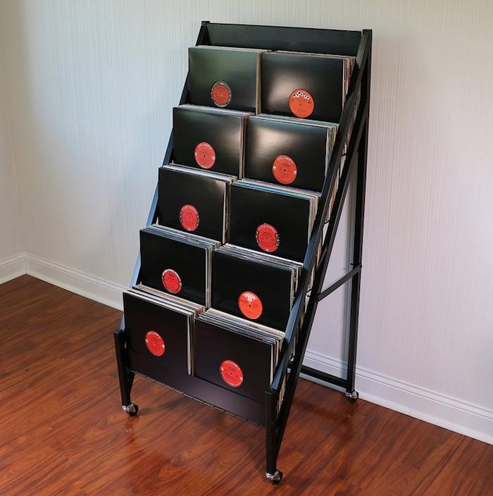stand de présentation en métal noir pour disques vinyles ou pour rangement vinyle de face sur plusieurs niveaux