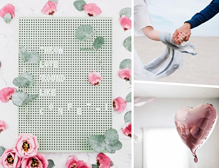 idées de cadeau pour son copain, décoration d'intérieur romantique avec ballons hélium en rose gold, escapade en amoureux