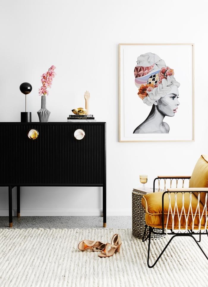 déco féminine dans une chambre aux murs blancs avec plancher gris, modèle d'armoire moderne noire avec poignée or et marbre