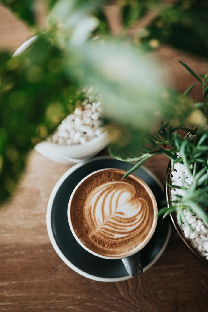 Café cappuccino et plantes vertes, couple romantique belle image d'amour comment montrer son amour avec photo