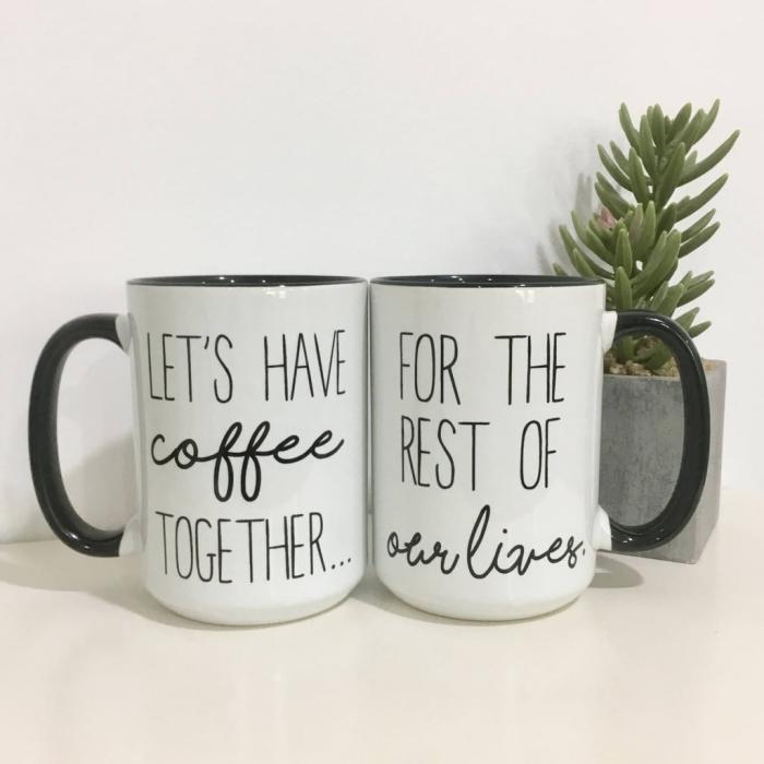 accessoires de cuisine pour couple, kit de mugs personnalisés avec message d'amour, modèle tasse de café blanc et noir