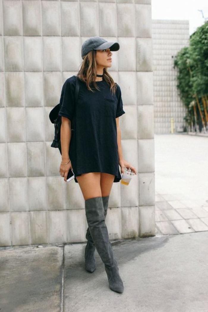 Tenue avec cuissardes, longue t-shirt noir pour robe, tenue classe femme tenue postbad photo tumblr fille image