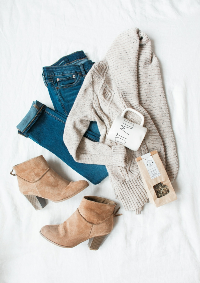Ranger ses vetements avant de les porter, s habiller bien en hiver, photo tenue tumblr inspirée par le style décontracté chic pour fille