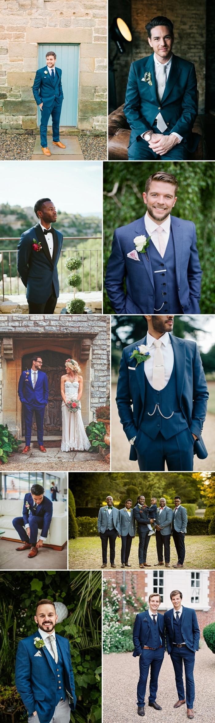 tenue homme habillée, costume bleu, chaussure marron, costume 3 pièces, idées tenue mariage