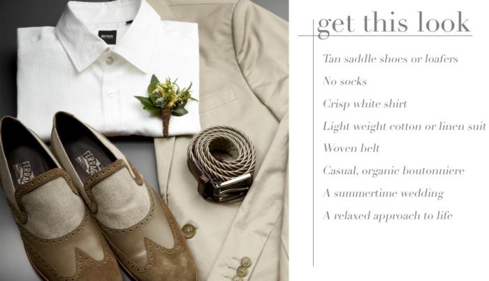 tenue mariage homme, chaussures trois couleurs neutres, cinture, chemise, veste beige