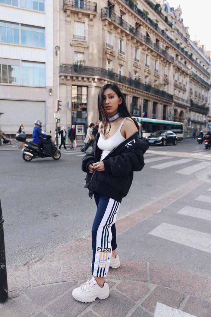 Sportswear style de la rue de paris, tenue tumblr, comment s habiller aujourd hui, tenue de jour style tumblr