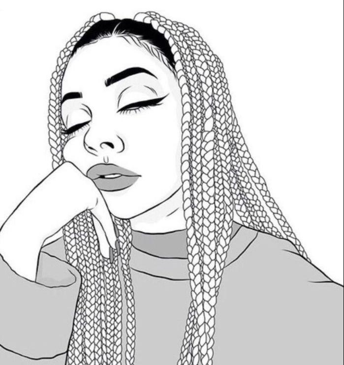dessin fille qui s endort aux cheveux tressés en tresses africaines, pull gris et traits de visage afro fille