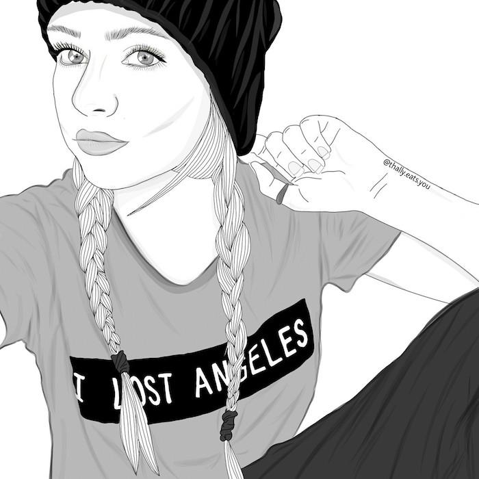 tumblr outlines idée de dessin d une fille street style avec chapeau et tee shirt et tresses, portrait noir et blanc