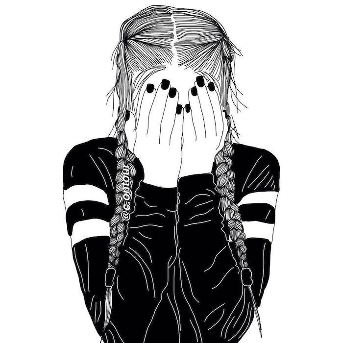 portrait de fille noir et blanc qui pleure style swag, tresses sur les cotés et tenue de sport noir et blanc, ongles noires