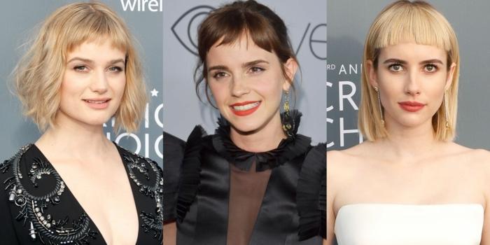la frange hachée en ses variations, trois femmes portant la coiffure carré mi long avec frange