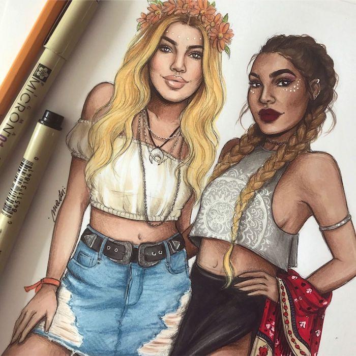 dessin en couleurs de deux femmes vêtues de style boheme chic, style coachella festival de musique, mode swag