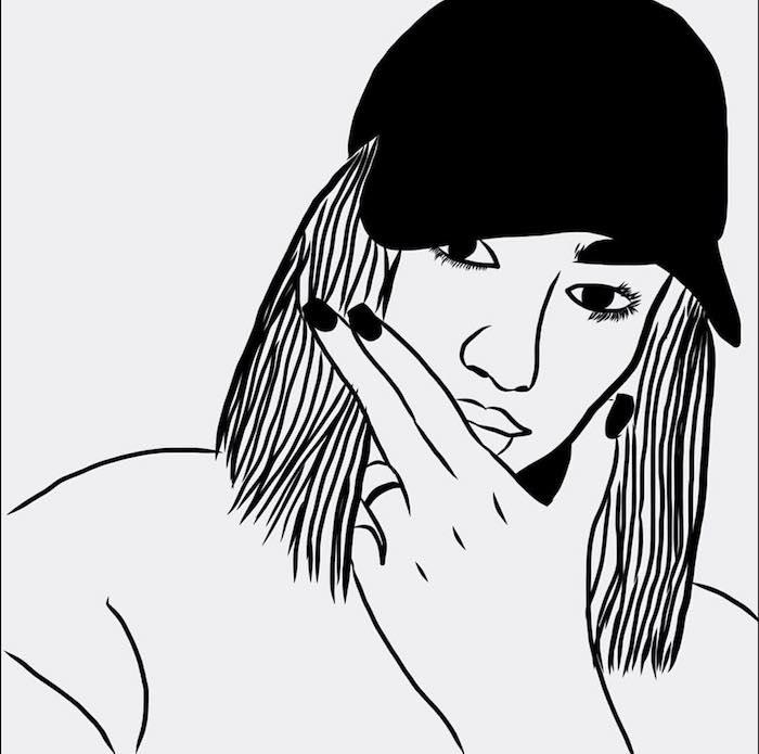 dessin graphique de fille outlines à partir une photo, silhouette femme avec cheveux carré et casquette noire