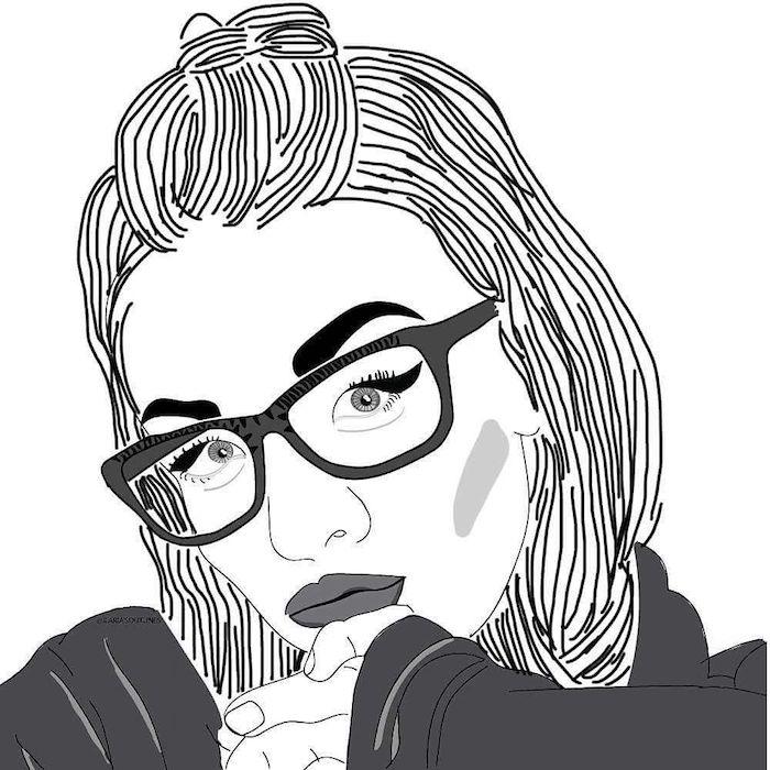 fille aux lunettes et cheveux mi longs, dessin style tumblr outlines réalisé à l aide d une application mobile