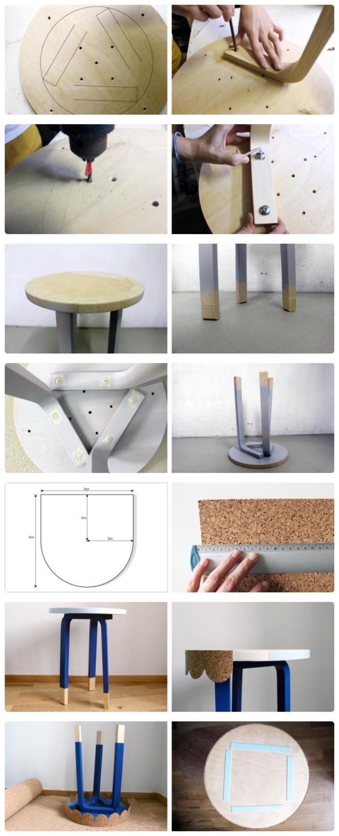 ikea bidouille pour réaliser une petite table d'appointe à partir d'un tabouret frosta, tuto pas à pas pour construire une petite table ronde