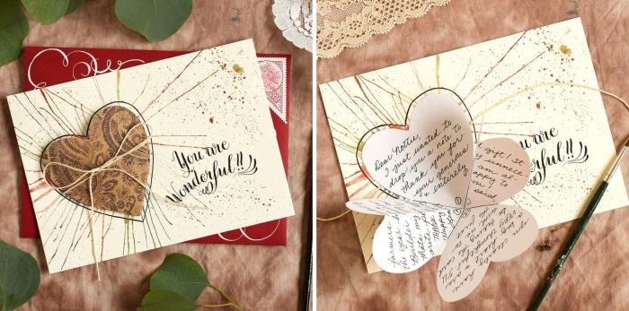 étapes à suivre pour fabriquer une carte d'amour, modèle de carte St Valentin avec coeur plié et peinture aquarelle, scrapbooking modele amour