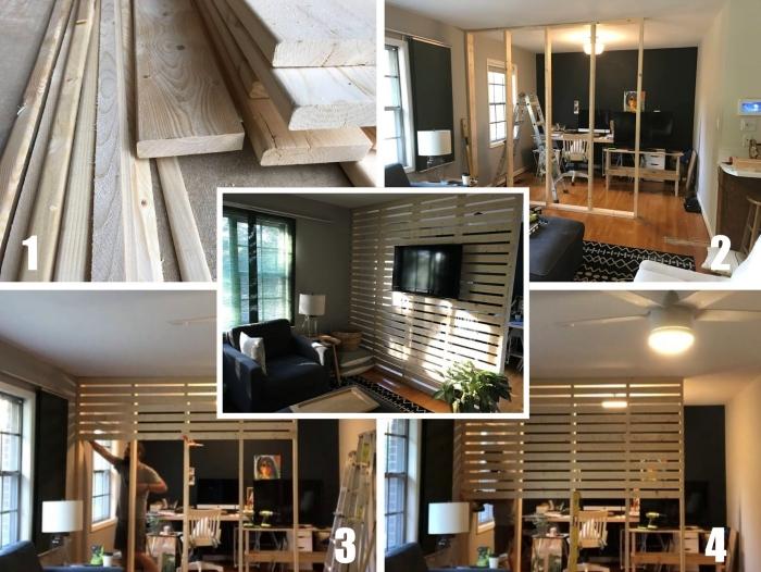 idée de construction de séparation pièce facile avec bois, design bureau à domicile semi-ouvert avec diy claustra