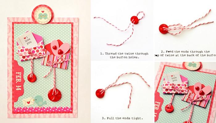 comment décorer une carte faite maison, carte scrapbooking modele pour la Saint Valentin, mini enveloppe scrap avec petits coeurs et boutons