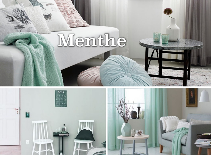 design intérieur aux murs de couleur vert clair, objets de déco vert menthe, modèle de rideaux longs de couleur vert pastel