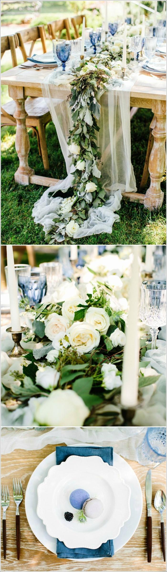 guirlande de roses comme centre de table pour mariage, chaises et table en bois, decoration table mariage guirlande de fleurs et feuillage