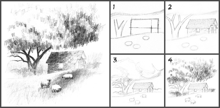Pas a pas dessin à reproduire, crayon noir sur papier blanche, simple et beau dessin de paysage, inspiration dessin facile à faire