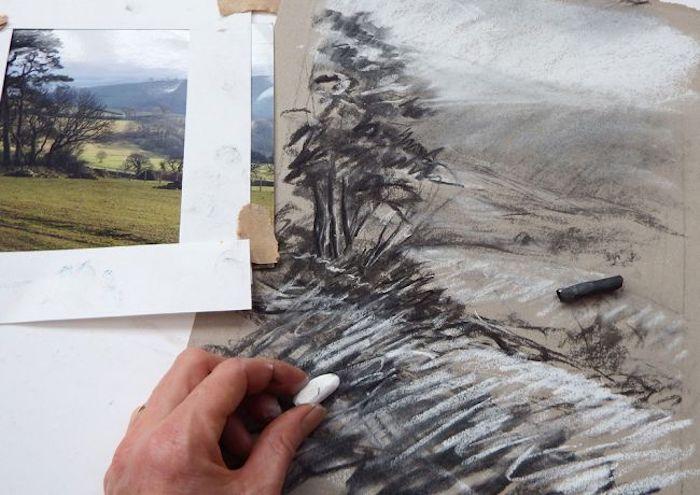 Pastel dessin, comment commencer son dessin, chouette idée dessin facile à faire, dessin de paysage beau