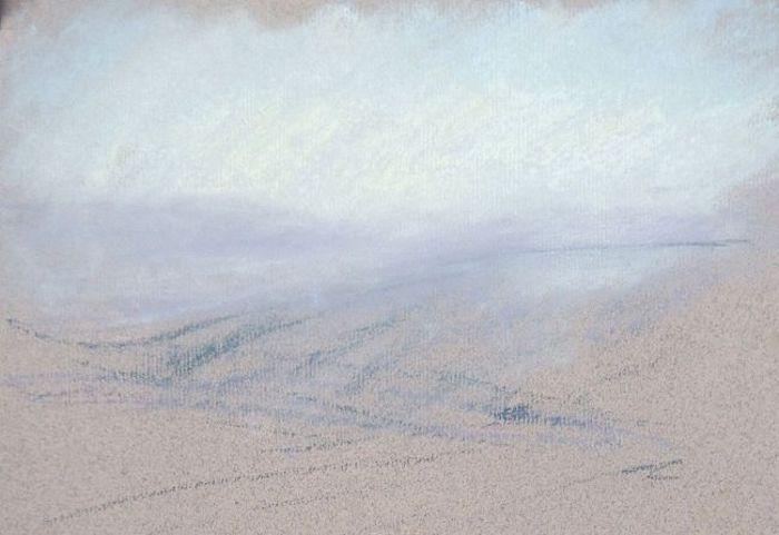 Coloré dessin aux pastels, créer de profondeur dans un paysage, comment dessiner un paysage, dessin facile à faire