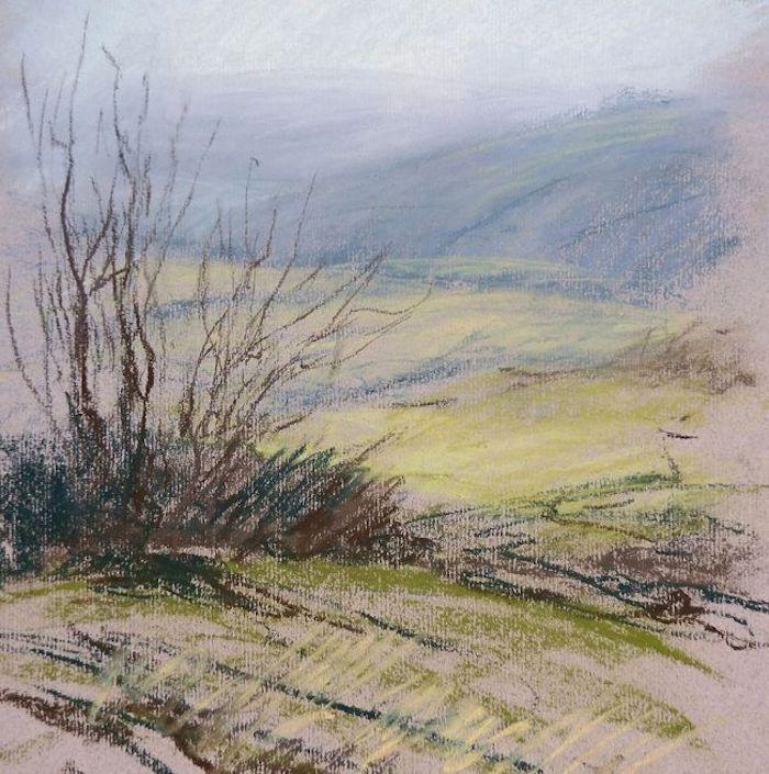 Champêtre dessin de paysage, idée de dessin facile à faire, la montagne et les colins, cool image pour s'inspirer que dessiner