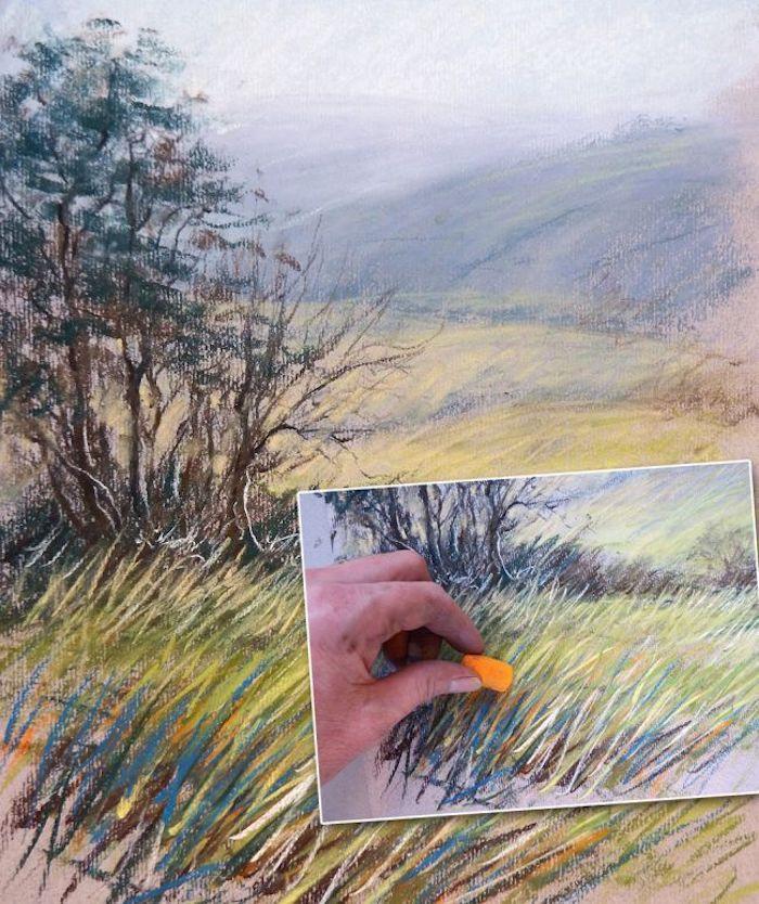 Le résultat et comment faire un dessin de paysage champetre étape par étape, beauté nature dessin facile à faire