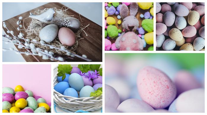 Collage de photos de paques aux couleurs pastel, choisir une décoration de paques rose, bleu et jaune, oeufs colorés