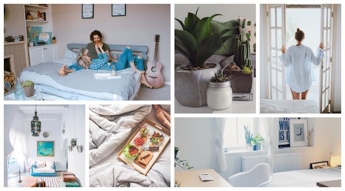 Chambre Tumblr originale décoration, mood board pour la chambre parfait, murs blanches oo rose pale pour avoir la possibilité de décorer facilement