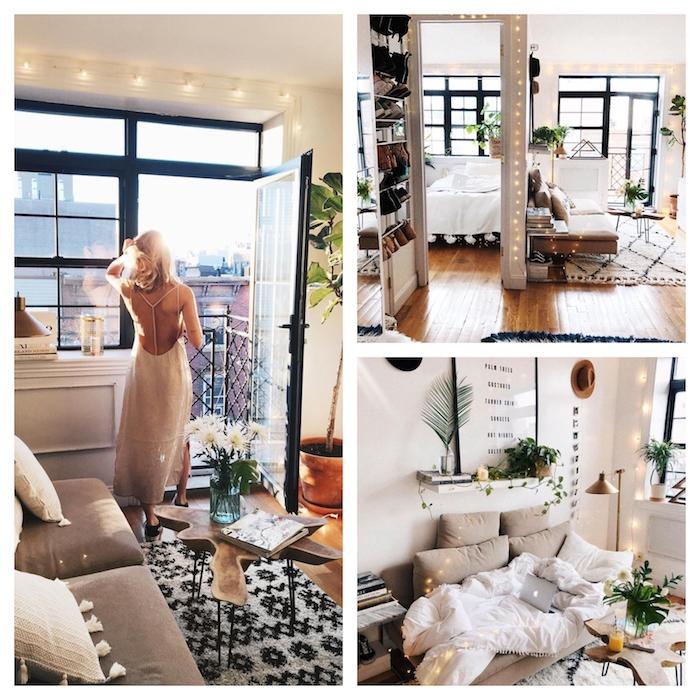 Femme en train de sortir sur le balcon avec belle vue de la ville, chambre joliment décoré style bohème, cosy déco nordique cocooning