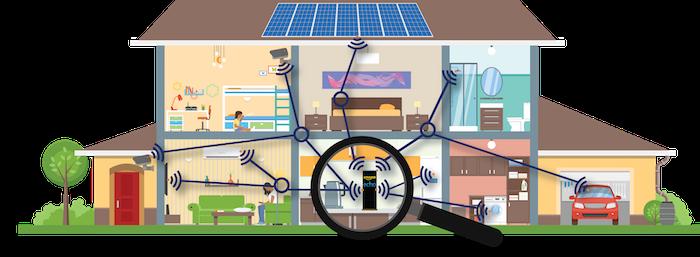 illustration d'une maison ultra connectée pour article sur Amazon qui rachète Eero, fabricant de routeurs wifi