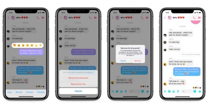 collage avec capture écran de smartphone pour illustrer la nouvelle option de suppression de messages sur Messenger