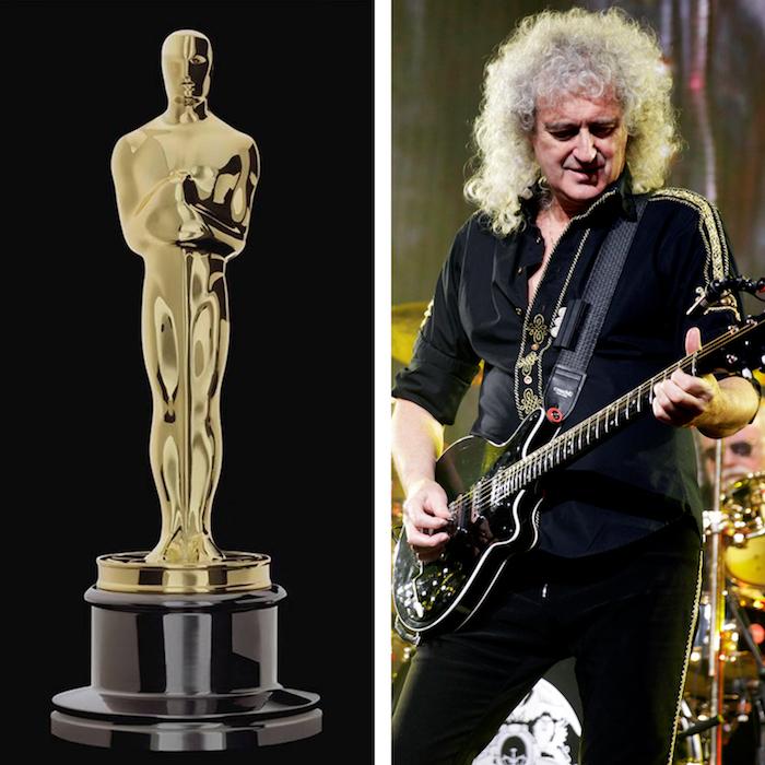 collage statuette oscars et photo guitariste Queen Brian May pour l'annonce du live de Bohemian Rhapsody aux Oscars 2019 avec Adam Lambert