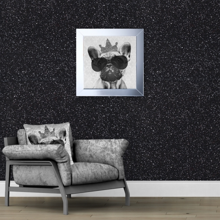idée texture mur à effet glitter, déco de salon glamour au parquet bois avec mur noir à design pailleté et meubles gris