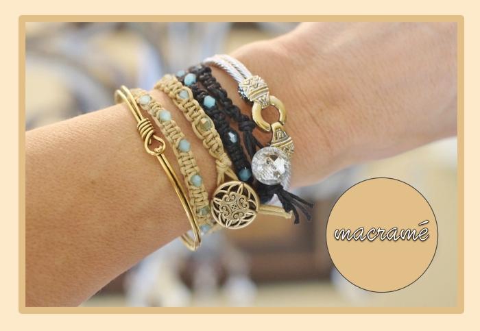 réaliser un noeud bracelet original, modèle de bijou tressé en corde beige avec ornements perles bleu pastel